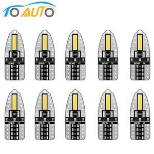 10 шт. T10 светодиодный Canbus автомобильный фонарь W5W 194 168 светодиодный COB кварцевая автомобильная лампа супер яркие боковые фары номерного знак...
