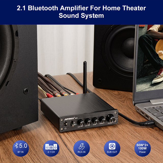 AIYIMA TPA3116 Subwoofer Bluetooth Amplifier 50W*2+100W DC12-24V 6