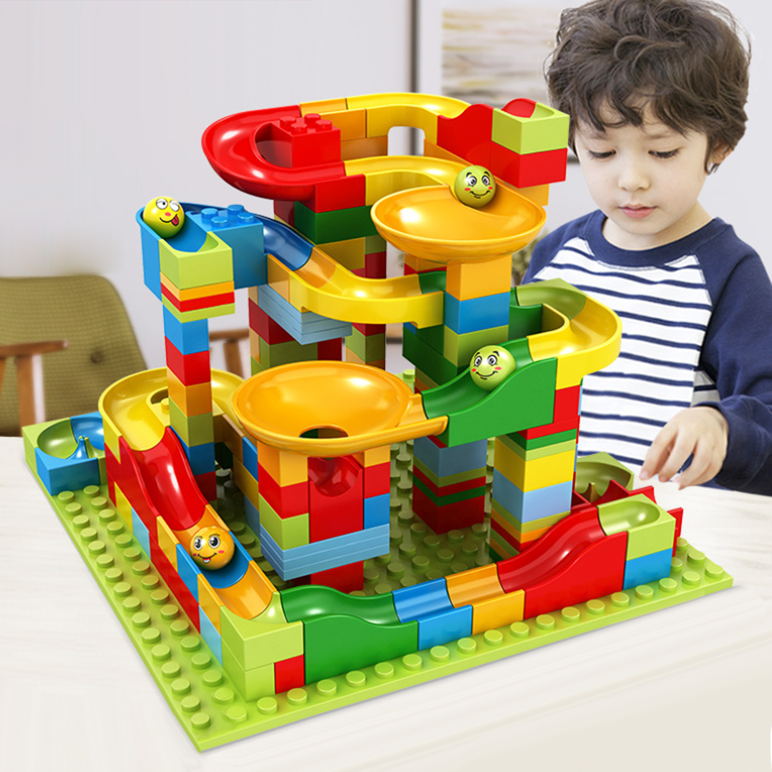 Besegad 165PCS DIY Marble Race Building Blocks Run Maze Ball Track Funnel Slide Bricks Toy For Children Birthday Christmas Gift