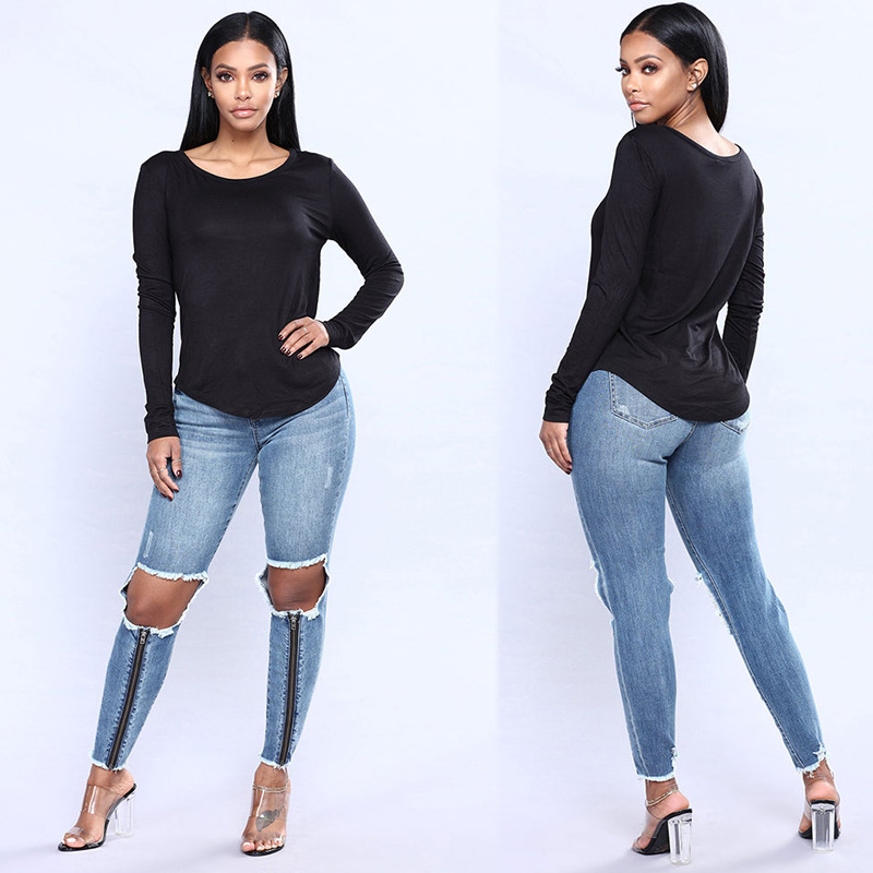 AliExpress Eaby  Hot Selling WOMEN'S Dress Straight-Cut Skinny Pants Zipper With Holes Foreign Trade Washing Cowboy Long P
