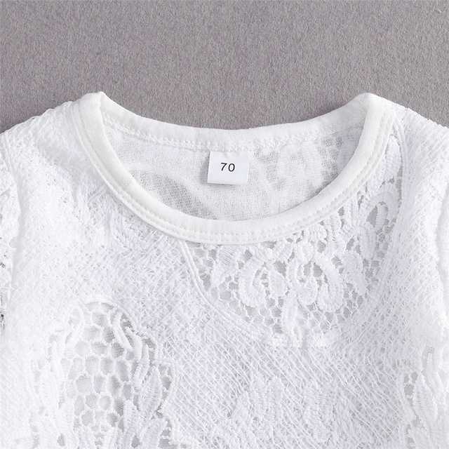 New Fashion 0-24M Baby Girls Fall Clothes Long Sleeve Lace Romper Suit Triangle Crotch Lace Top  Hole Long Jeans 2Pcs Outfit 3