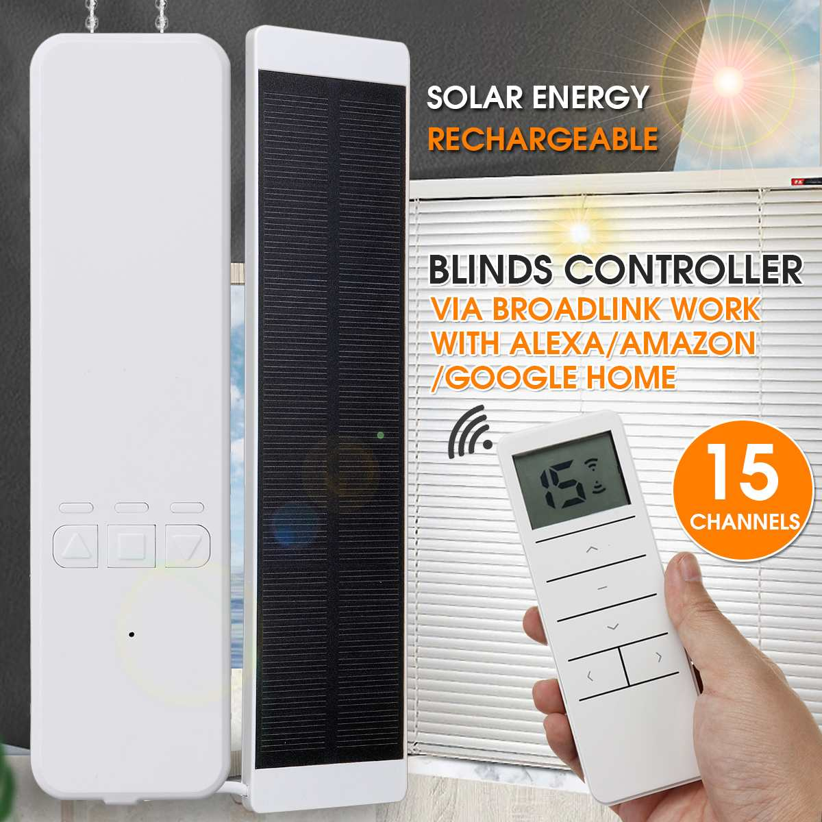 NEW Solar Charging Smart Home Motorized Chain Roller Blinds Automation Kit Control with Remote and Control Via Alexa Google