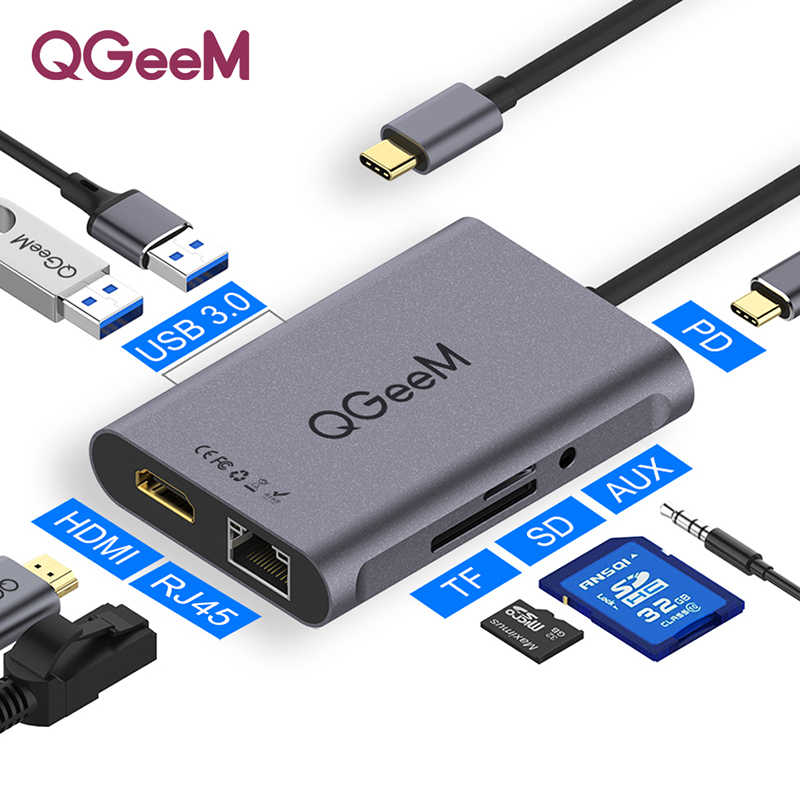 QGeeM 8 In 1 USB C Hub için Macbook Pro USB Hub 3.0 adaptörü PD HDMI RJ45 TF SD 3.5mm Aux tipi C Hub için iPad Pro Splitter Dock