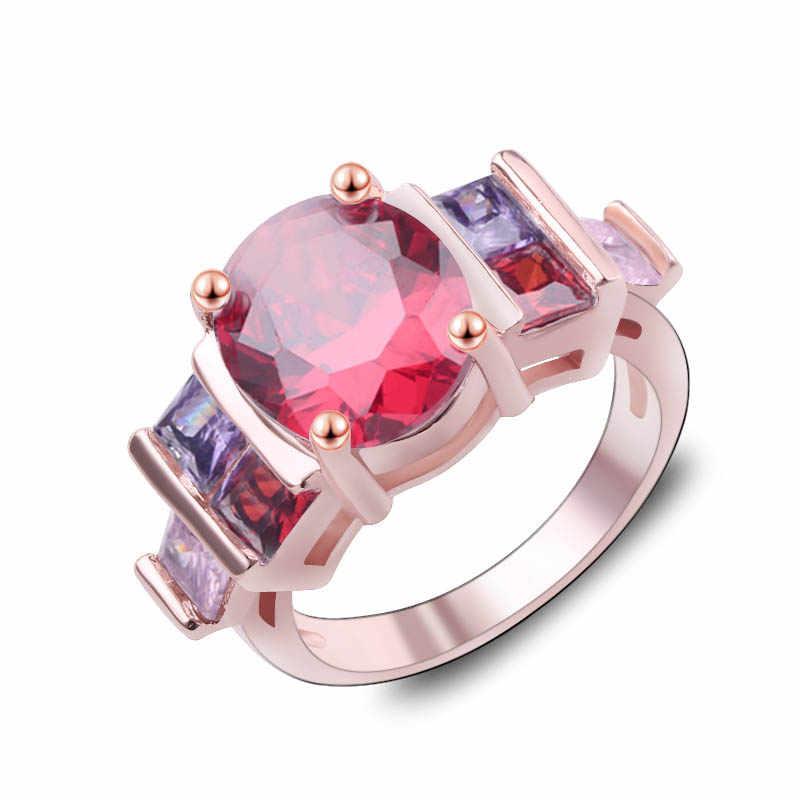 Grande oval vermelho pedra dupla fileira colorido cristal zircon vintage anéis de casamento para homem/mulher prata ouro cor anel preto jóias