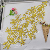 Iron On Flower Lace Appliques 3D Style 1 Pcs Gold Embroidered Patches Vintage Cosplay Costume Appliqued Lace Trims Diy 59cm