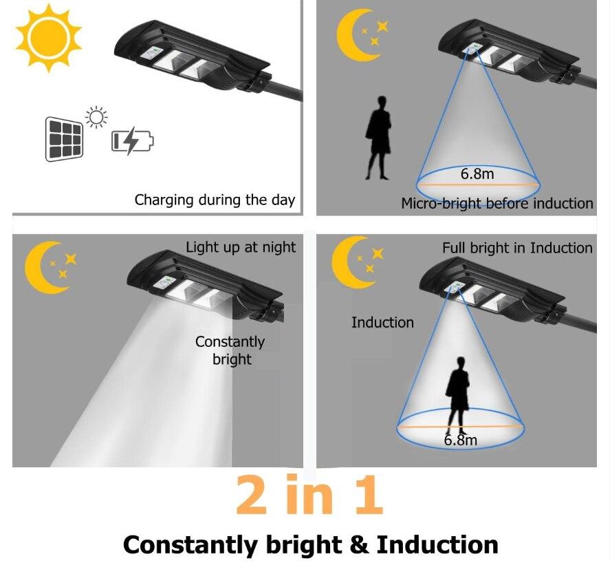 LED outdoor solar street light PIR Motion Sensor Wall Light  Adjustable Waterproof IP65 10W 20W 30W Yard Path Home Garden Lamp 4