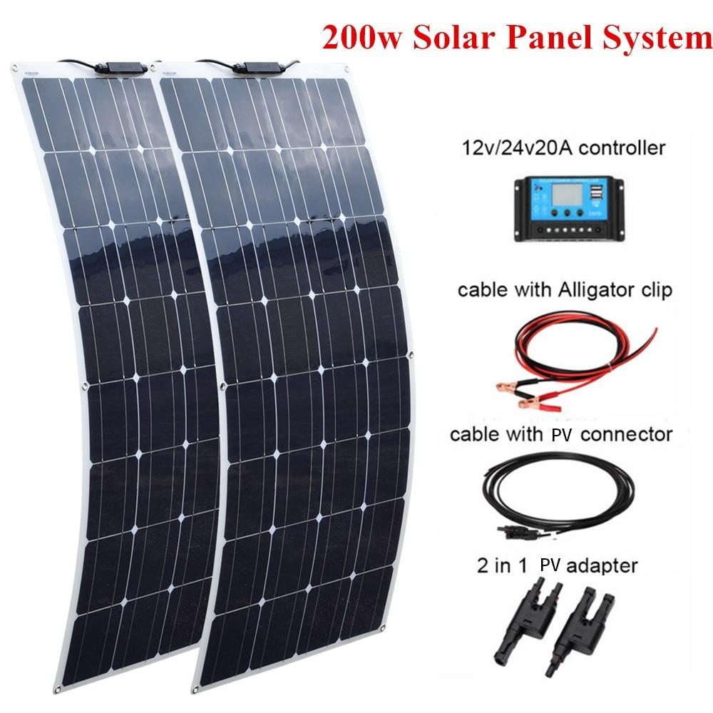 2 pcs 100W Flexible Solar Panel 200w +20A 12V/24V  Controller For Boat Caravan Home or Off grid/Backup Solar Power systems Solar Cells    - title=