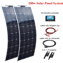 2 pcs 100W Flexible Solar Panel 200w +20A 12V/24V  Controller For Boat Caravan Home or Off-grid/Backup Solar Power systems off grid system 200w power charge 100w mono solar panel w combiner box
