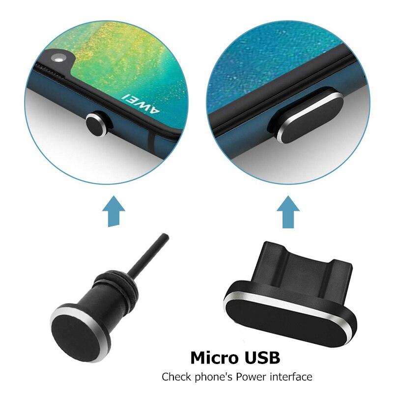 Nova Chegada 2 Pçs/set Metal Carregamento Porto + Fone de Ouvido Plugue Poeira Porta Substituição para Android Telefone Móvel 3.5 milímetros fone de Ouvido Rolha|Dust plug celular|   -