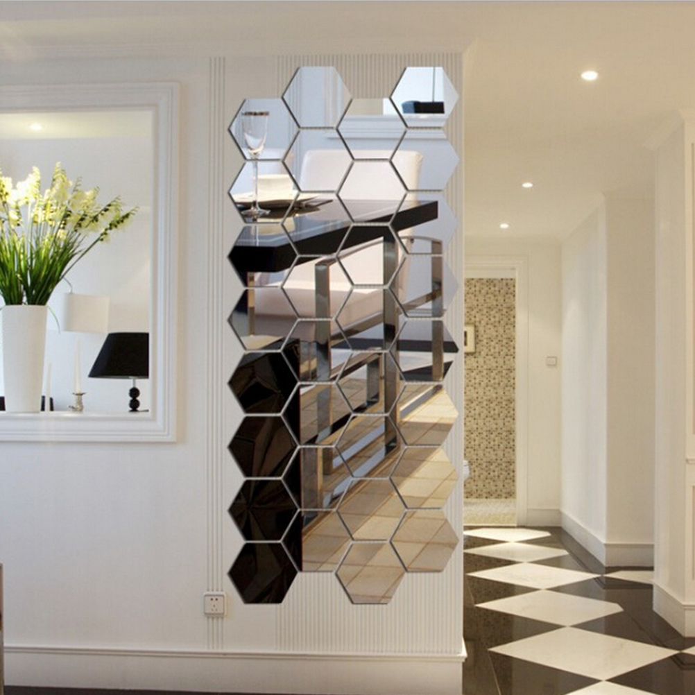 12Pcs 3D Regular Hexagon Honeycomb Decorative Acrylic Mirror Wall Stickers Living Room Bedroom Poster Home Decor Room Decoration