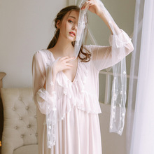 Palace Princess Nightdress Women Spring Summer Lace Sexy Cute Sleepwear Long Sleeve Home Service GZ16