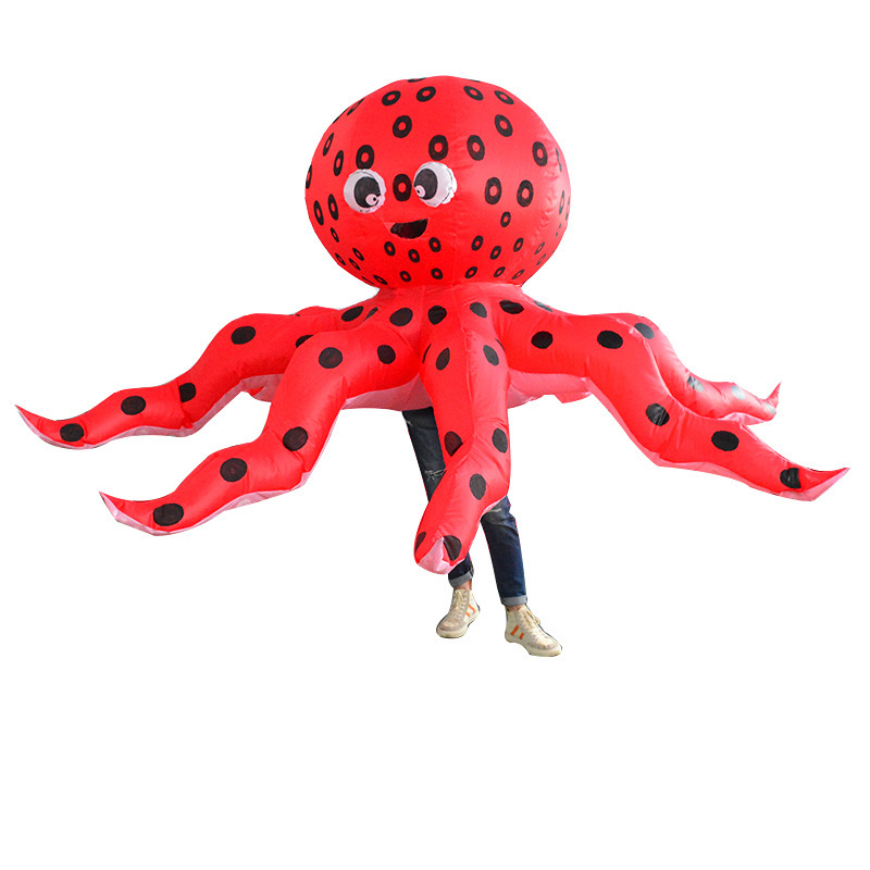 Purim Adults Octopus Costume Inflatable Blow Up Fancy Dress Animal Mascot Suit Halloween Carnival Cosplay Outfit Red Christmas
