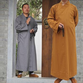 Buddyjski mnich szaty odzież kostium Shaolin mnich odzież buddyjski mnich ubrania jednolite medytacja tradycyjna chińska odzież tanie i dobre opinie COTTON Sukno 072004