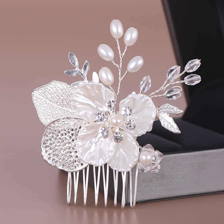 Weiße Blume Kristall Simulierte Perle Haar Kämme Kopfschmuck Braut Braut Noiva Engagement Hochzeit Schleier Dekoration Schmuck