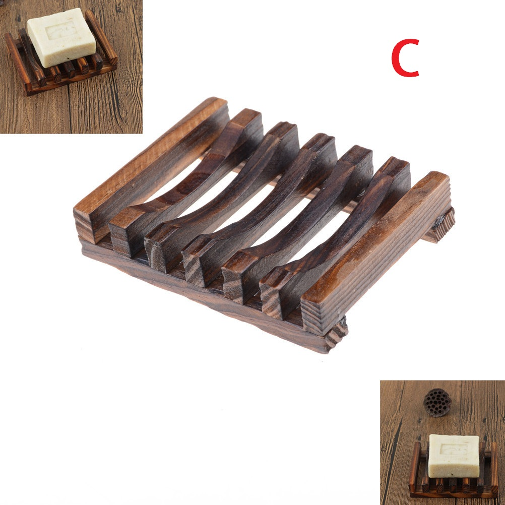 Natural Wooden/Bamboo Soap Tray Holder Soap Storage Rack Plate Box Container Metal Soap Dish Bath Shower Plate Bathroom Acc