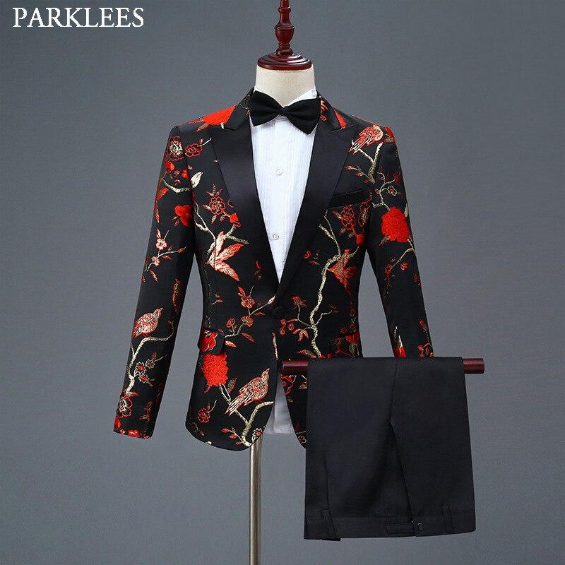 Red Floral Bronzing Men Suit Set Wedding Suits For Mens Dance Stage Costume Men Suits With Pants Fashion Dress Suit Men Tuxedo