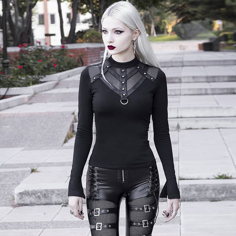 SZMALL Newest 2020 <font><b>Gothic</b></font> style tees Tops For <font><b>Women</b></font> Hollow Out Mesh cheerless Tshirts <font><b>Sexy</b></font> Lady Long Sleeve Club Slim T <font><b>Shirt</b></font> image