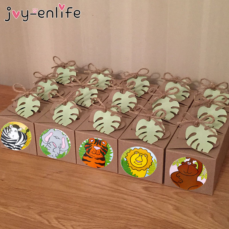 100pcs Jungle Animals Self Adhesive Sealing Sticker Labels Gift Bags Baking Sealing Sticker Jungle Animals Party Decor Supplies