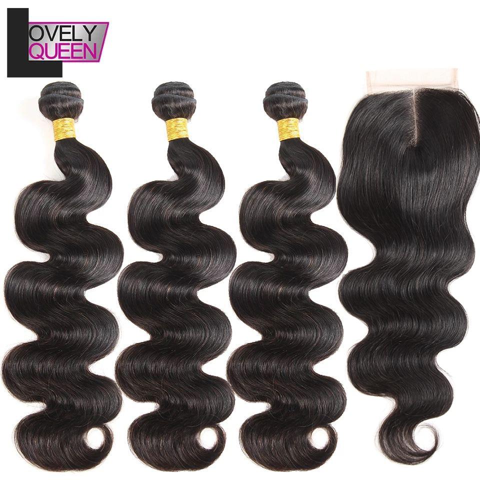 Malaysian Body Wave Hair Human Hair Bundles With Closure 3 Weave Bundles With Closure Non Remy