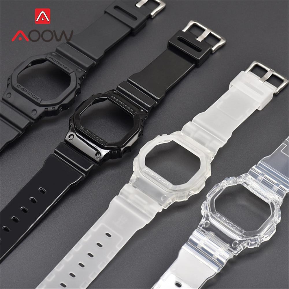 Transparent Rubber Watchband Case For Casio G-Shock DW-5600 GW-M5610 G-5600 G-5000 Replacement Band Bracelet Strap Accessories