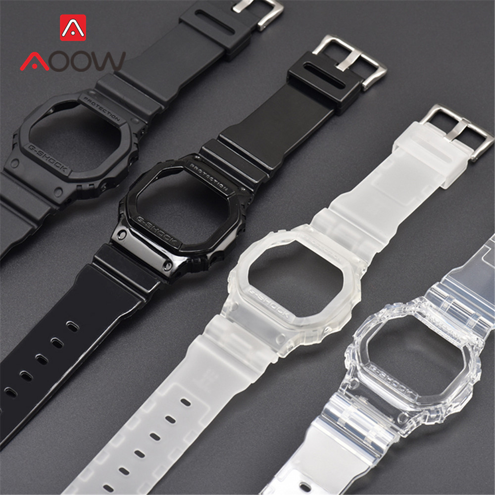 Transparent Watchband Watch Case For Casio G-Shock DW-5600 GW-M5610 G-5600 G-5000 TPU Replace Band Bracelet Strap Accessories