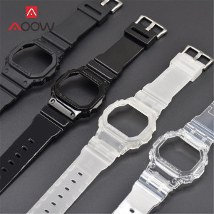 Transparent Watchband Watch Case for Casio G-Shock DW-5600 GW-M5610 G-5600 G-5000 TPU Replace Band Bracelet Strap Accessories(China)