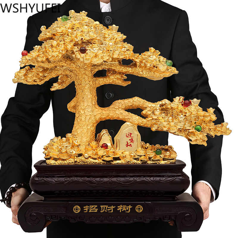 New Style Money Tree Resin Decoration Auspicious Gifts Living Room Study Office Desktop Decorations Shop Decorations WSHYUFEI
