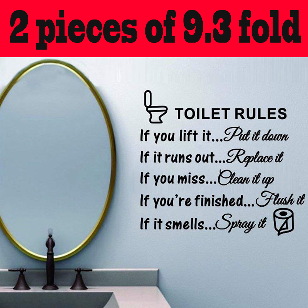Bathroom Rules Art Wall Stickers Vinyl Removable Decals Mural  Wall Stickers New