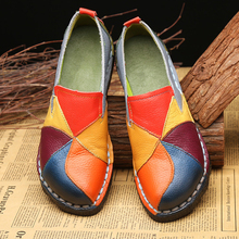 Loafers Flats-Shoes Moccasins Mixed-Colors Ballet Female Designer Casual Genuine-Leather