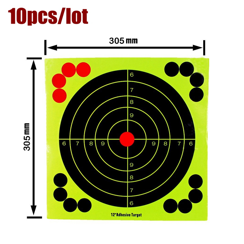 10pcs 12inch Training Target Paper Tactical Paintball Fluorescence Sticker for Shooting Hunting target papr Paitball