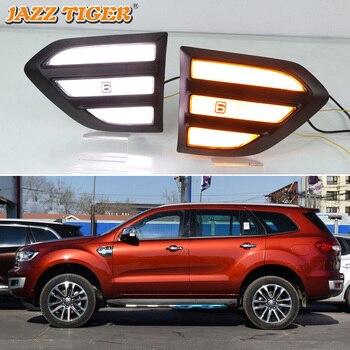 JAZZ TIGER 2PCS Car Fender Light For Ford Everest 2015 - 2018 2019 LED Daytime Running Light Turn Signal Lamp 12V DRL Side Bulb