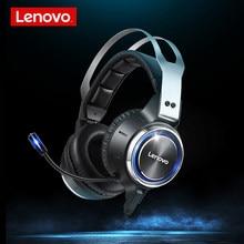 Lenovo HS25 nowy przewodowy zestaw słuchawkowy do gier 7.1 wirtualna inteligentna redukcja szumów 50MM duży róg LED Light z mikrofonem