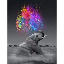 DIY 5D Diamond Painting by Number Kit for Adult, Full Drill Diamond Embroidery Dotz Kit Home Wall Decor-30x40cm Elephant(China)