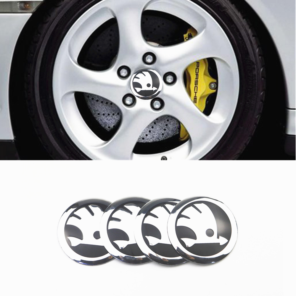 Car-styling 4pcs 56mm Car Tire Wheel Center Hub Caps Decorative Sticker For Skoda Octavia Fabia Rapid Yeti Superb Octavia A 5