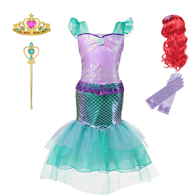 Comic Con Little Mermaid Cosplay Kostuum voor Meisjes Zomer Make up Party Kleding Kids Halloween Prinses Ariel Dress up Outfit
