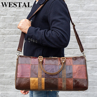 WESTAL duffle bag leather men's travel bag leather vintage weekend bag men's travel bags genuine leather luggage/overnight tote