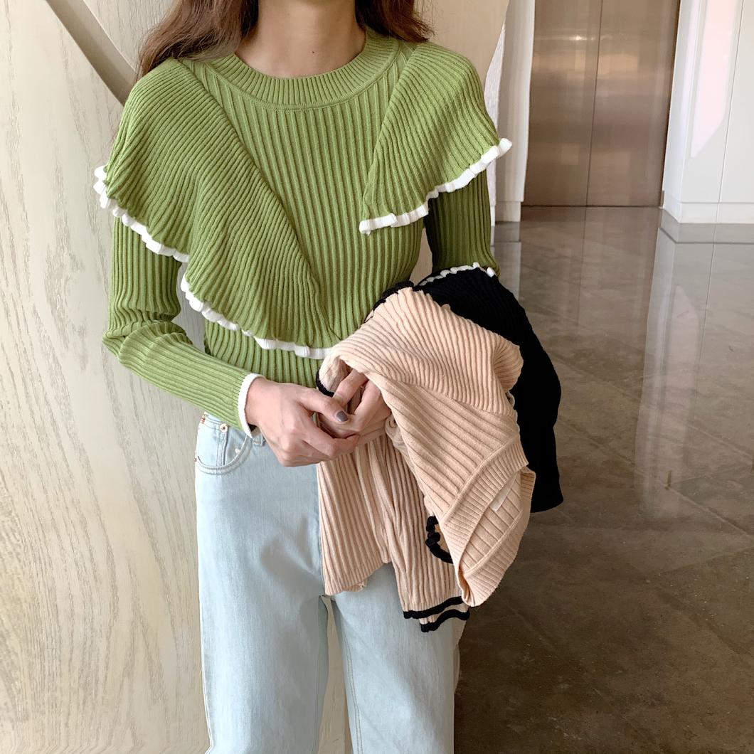 Autumn Winter Sweater Women Pullovers Fashion Women's Patchwork Ruffles Full Sleeve Sweaters For Female