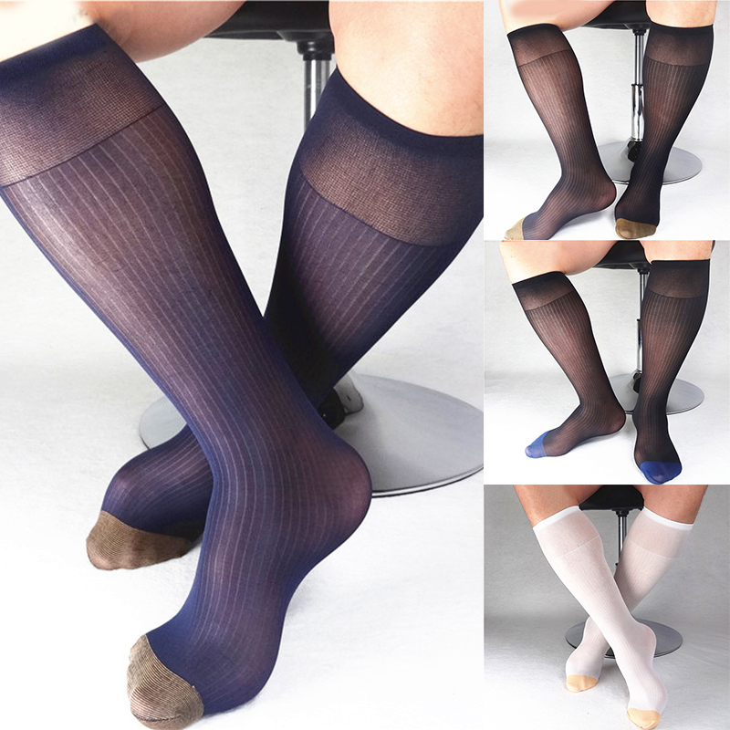 1 Pair Men's Wide Striped Toe Sheer Socks Silk High Thin Breathable Sexy Softy Socks Business Office Stockings Black Gold Blue