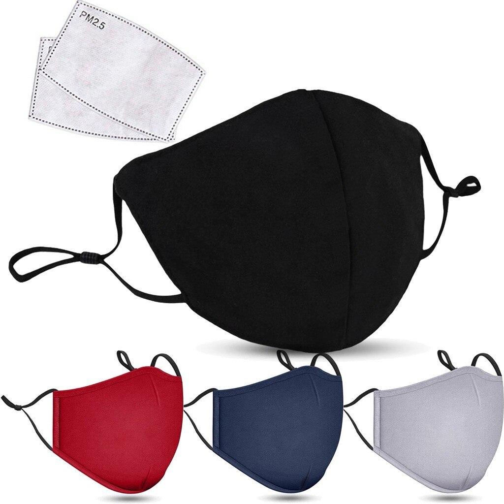 Маска уличная хлопковая для лица с фильтром, маска моющаяся многоразовая с активированным углем PM2.5 для защиты от пыли и рта