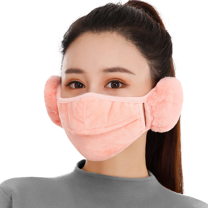 Mask Female Winter Two-in-one Warm Mask Earmuffs Thickening Riding Windproof Ear Warmer For Women Men Solid Color Cotton Mask