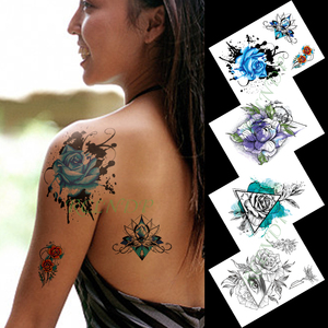 Водостойкие временные тату наклейки чернила цветы розы Большой размер художественные тату флэш-тату поддельные татуировки для девушек муж...