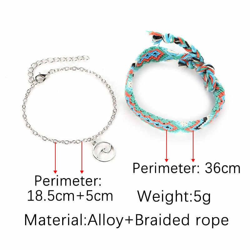 Letnie damskie łańcuszek na kostkę łańcuch liny tkane wielowarstwowa kolorowy amulet plaża Anklet czeski kobiety sandały łańcuszek na kostkę biżuteria