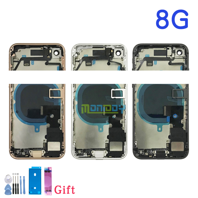 Capa traseira completa para iphone 8 8g/8 plus habitação porta da bateria meio chassis quadro caixas montagem porta traseira com cabo flexível