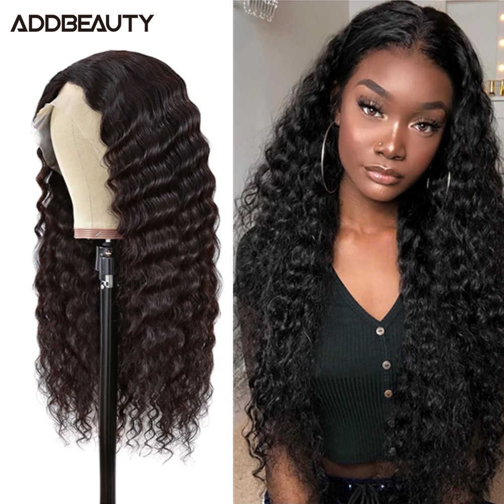 30 Inch 13x4 Deep Wave Lace Frontal Wig Human Hair 180 Density Brazilian Remy Hair Wig Addbeauty Lace Front Wig For Black Women
