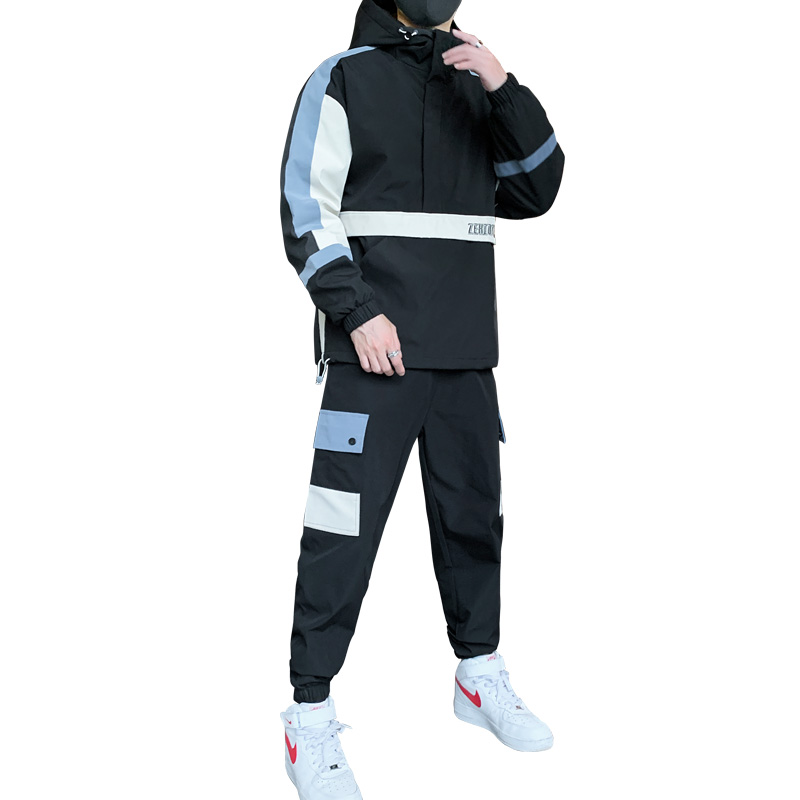Workwear Jacket Men's Brushed Thick Hooded Jacket+Pants 2PC Sets Baseball Loose Pullover Coat & Long Pants Mens Clothing