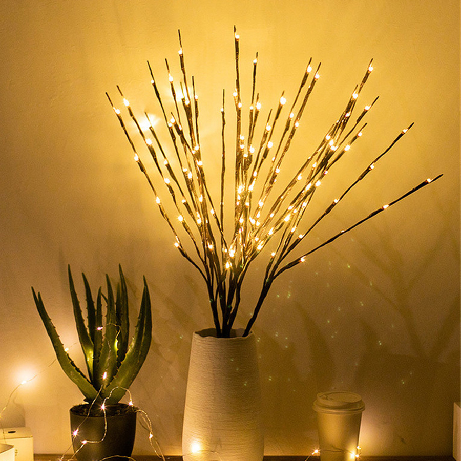 Thrisdar 20 LED Willow Branch Light Twig Willow Tree Branch Floral Lamp Battery Operated Party Christmas Vase Branch Garland