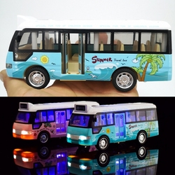 Geluid Licht Tour Bus Model Jongen Speelgoed Diecasts Toy Vehicles Kinderen Gift