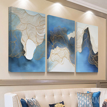 Ink-wash Landscape Decorative Painting Nordic Simple Triple Abstract Paint By Numbers Canvas Wall Art Pictures For Living Room
