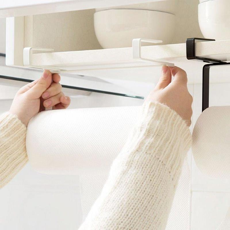 New Iron Kitchen Tissue Holder For Hanging Toilet Paper Roll Towel Holder Kitchen Cupboard Door Hook Storage Organizer WJ10281