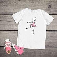 Летняя детская модная футболка в стиле Харадзюку для девочек; Футболка с принтом танцоров балета; Детские Забавные футболки для девочек; топы с короткими рукавами; одежда